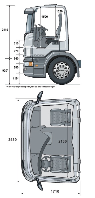 Дневная кабина Scania G14 размеры