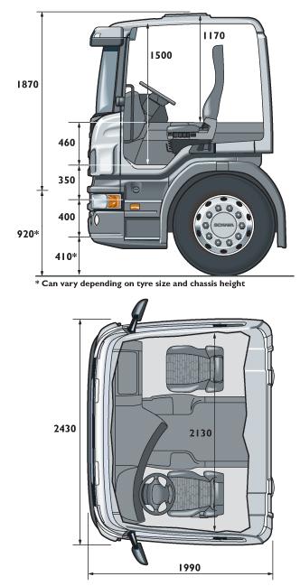 Размеры кабины тягача Скания типа Р